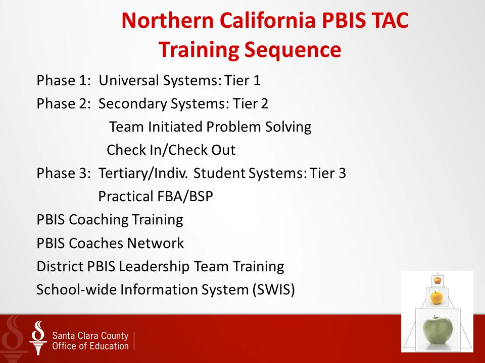 Northern California PBIS TAC Training Sequence Phase 1: Universal Systems: Tier 1 Phase 2: Secondary Systems: Tier 2 Team Initiated Problem Solving Ch