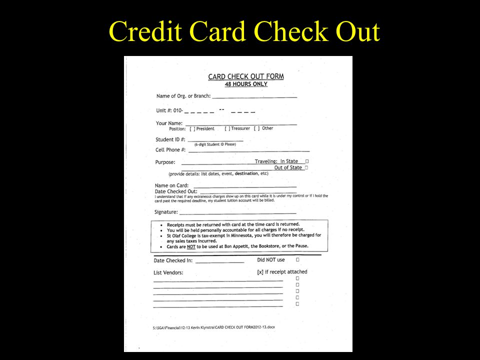 Credit Card Check Out