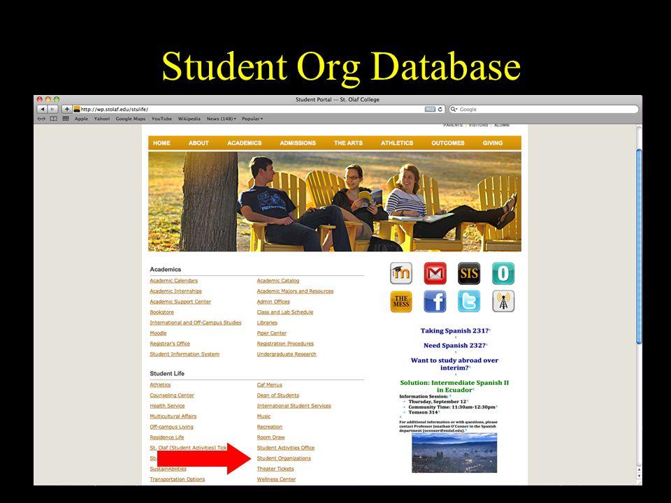 Student Org Database