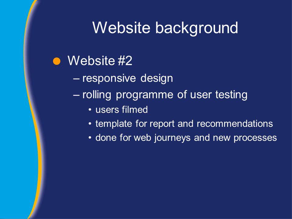 Website background  Website #3 –new, custom navigation –designed around tasks and customer journeys –radical change in design