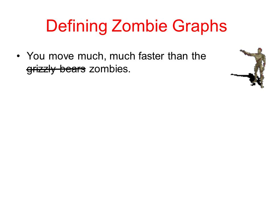Defining Zombie Graphs You move much, much faster than the grizzly bears zombies.