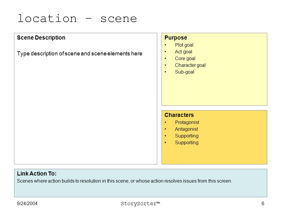 9/24/2004 StorySorter™ 6 location – scene Scene Description Type description of scene and scene elements here Purpose Plot goal Act goal Core goal Character goal Sub-goal Characters Protagonist Antagonist Supporting Link Action To: Scenes where action builds to resolution in this scene, or whose action resolves issues from this screen.