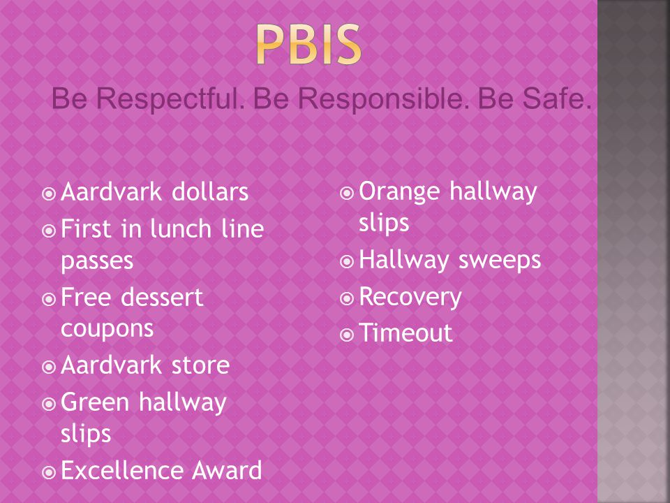  Aardvark dollars  First in lunch line passes  Free dessert coupons  Aardvark store  Green hallway slips  Excellence Award  Orange hallway slips  Hallway sweeps  Recovery  Timeout Be Respectful.