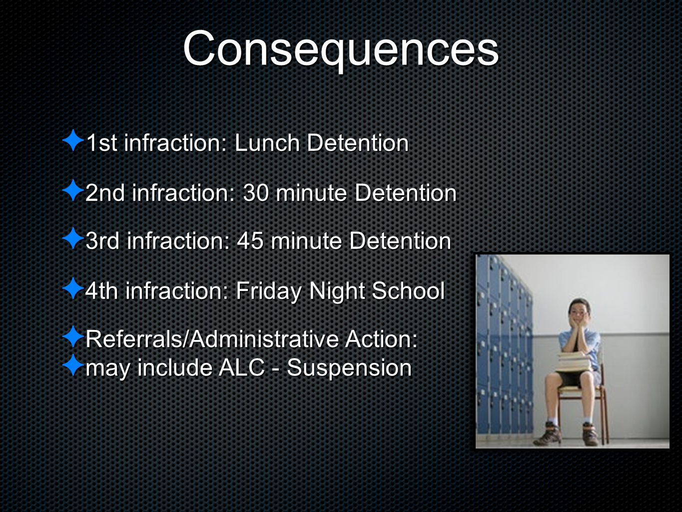 Consequences ✦ 1st infraction: Lunch Detention ✦ 2nd infraction: 30 minute Detention ✦ 4th infraction: Friday Night School ✦ Referrals/Administrative
