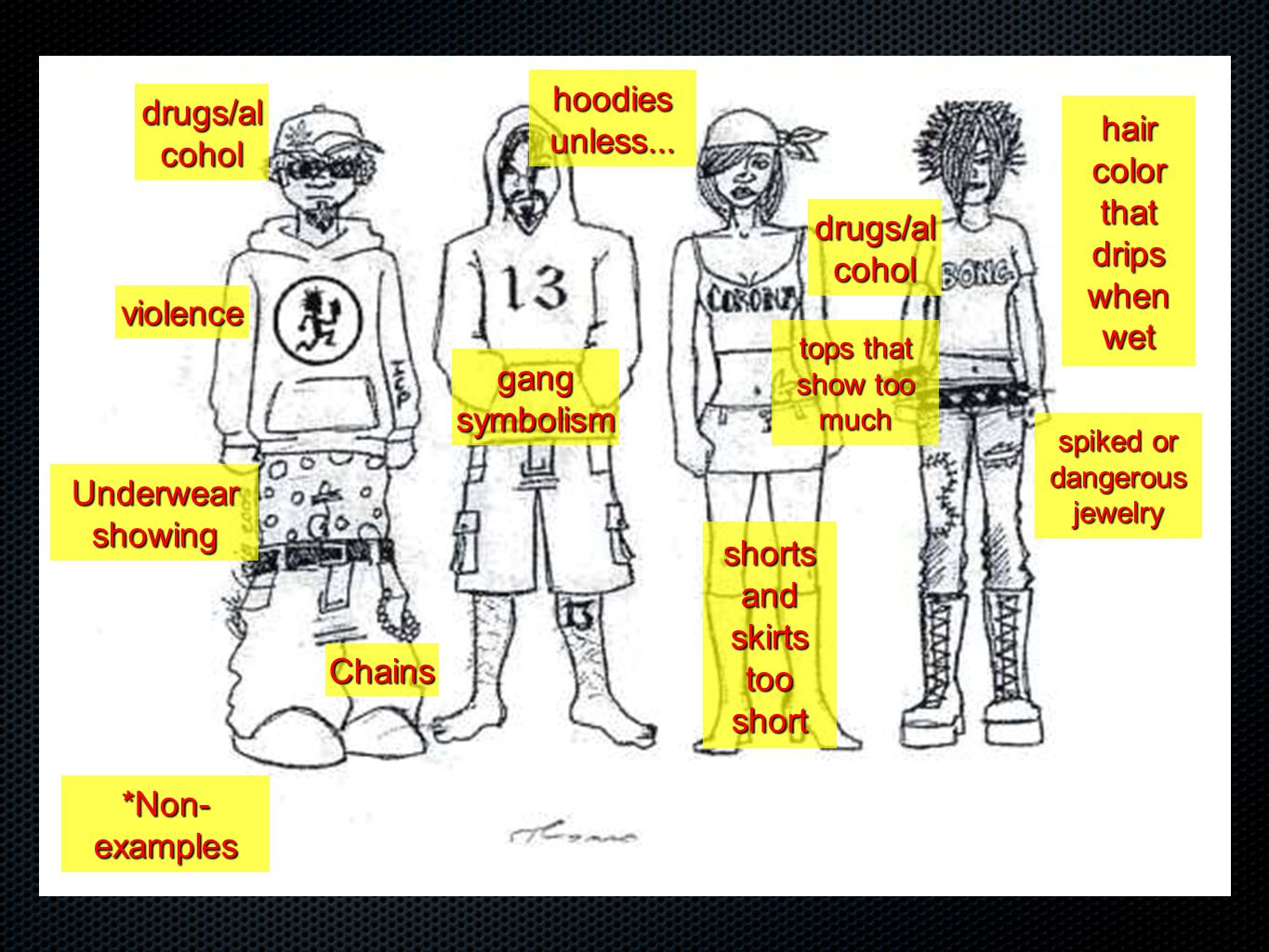 Chains Underwear showing violence drugs/al cohol gang symbolism hoodies unless... tops that show too much drugs/al cohol shorts and skirts too short h