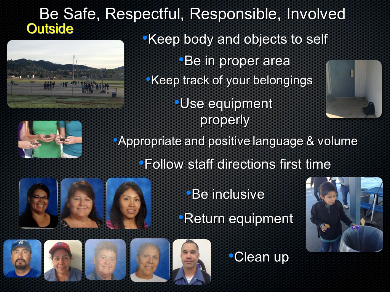 Be Safe, Respectful, Responsible, Involved Keep body and objects to self Keep body and objects to self Be in proper area Be in proper area Use equipme