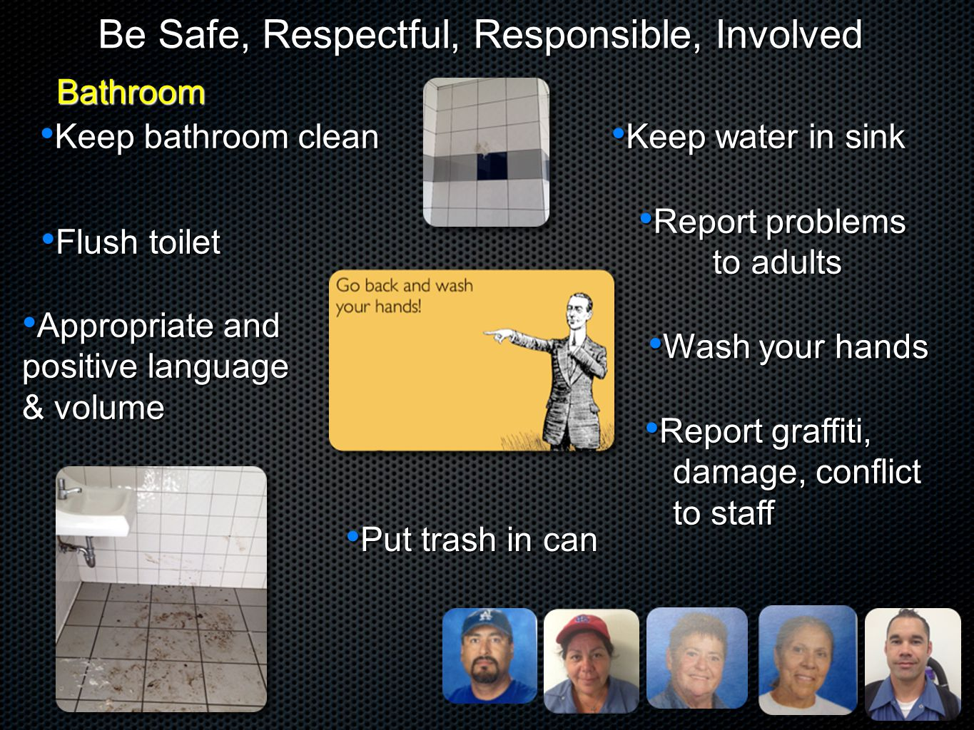 Be Safe, Respectful, Responsible, Involved Keep water in sink Keep water in sink Flush toilet Flush toilet Report problems Report problems to adults t
