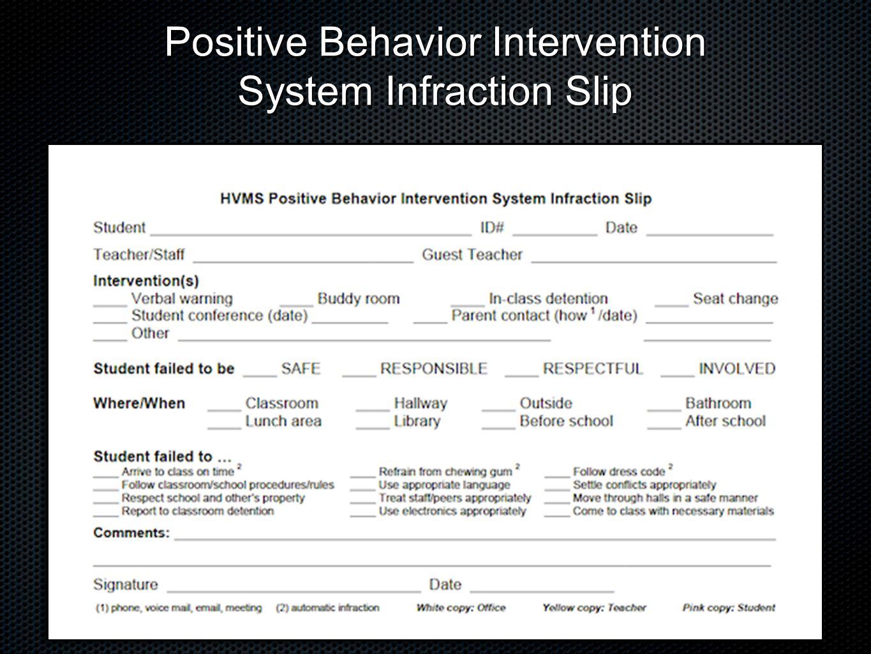 Positive Behavior Intervention System Infraction Slip