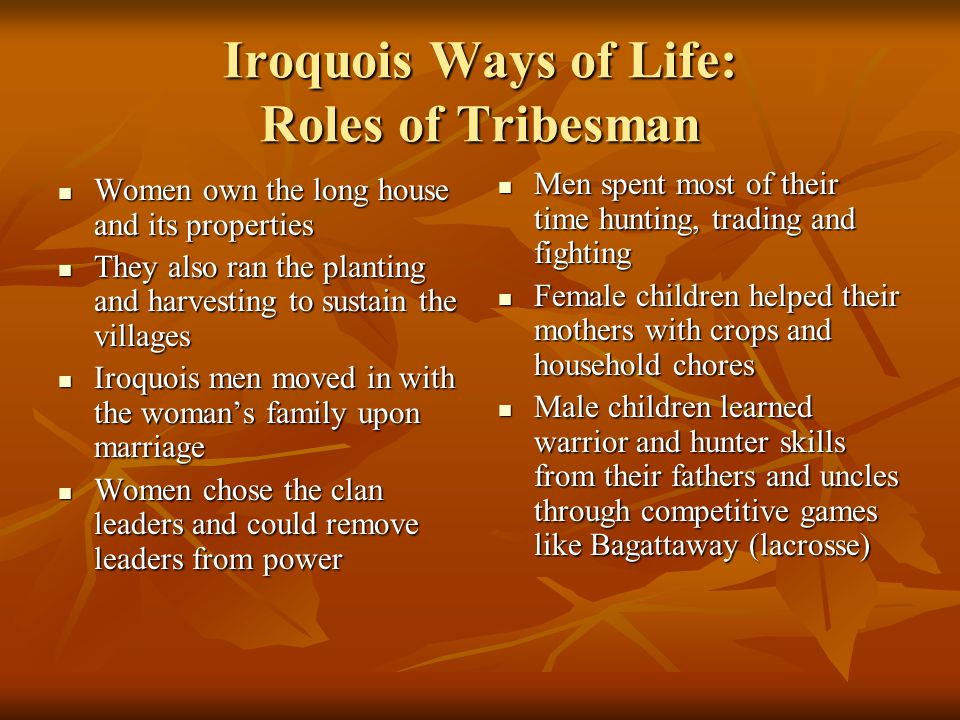 Iroquois Ways of Life: Roles of Tribesman Women own the long house and its properties Women own the long house and its properties They also ran the pl