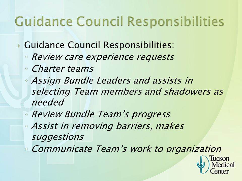  Guidance Council Responsibilities: ◦ Review care experience requests ◦ Charter teams ◦ Assign Bundle Leaders and assists in selecting Team members and shadowers as needed ◦ Review Bundle Team's progress ◦ Assist in removing barriers, makes suggestions ◦ Communicate Team's work to organization