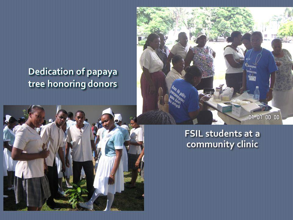 Dedication of papaya tree honoring donors Dedication of papaya tree honoring donors FSIL students at a community clinic