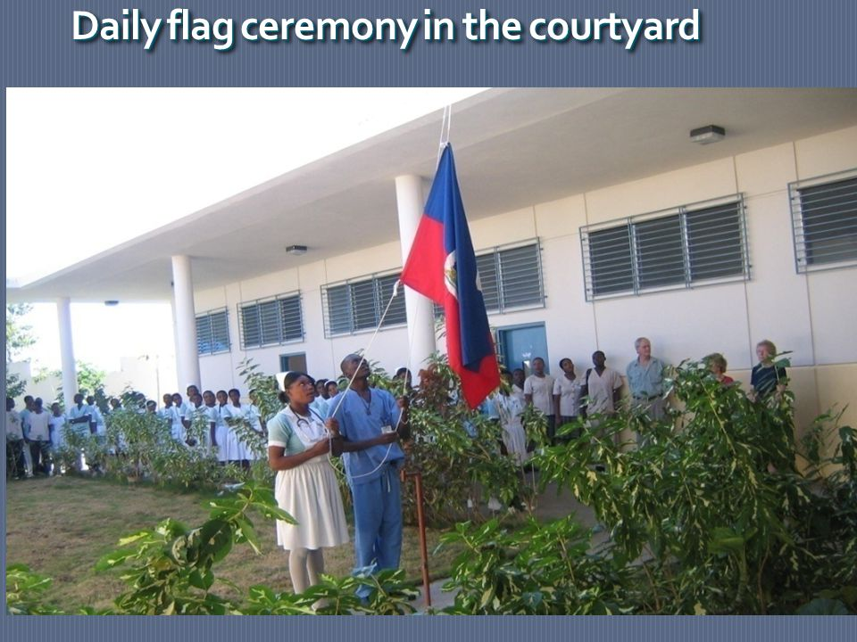 Daily flag ceremony in the courtyard