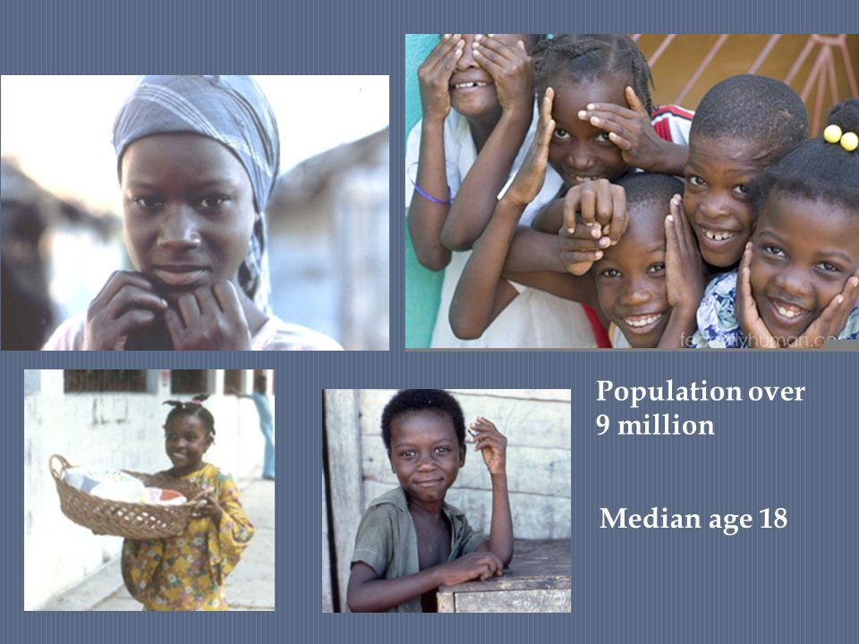 Median age 18 Population over 9 million