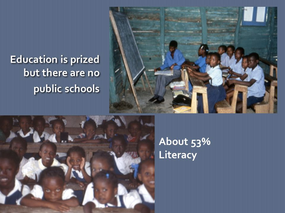 Education is prized but there are no public schools Education is prized but there are no public schools About 53% Literacy
