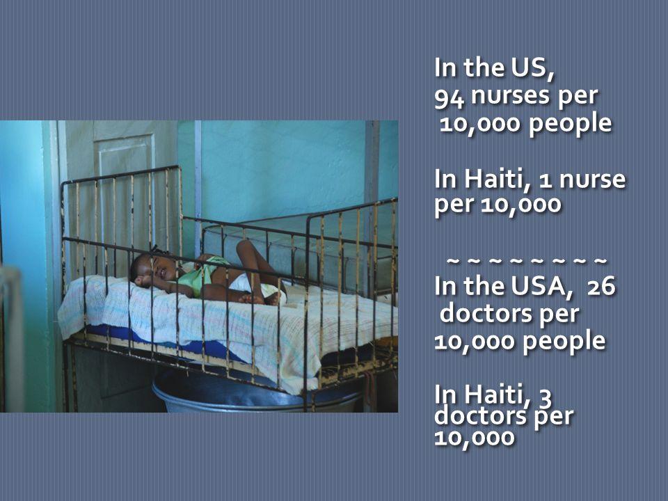 In the US, 94 nurses per 10,000 people In Haiti, 1 nurse per 10,000 ~ ~ ~ ~ ~ ~ ~ ~ In the USA, 26 doctors per 10,000 people In Haiti, 3 doctors per 10,000 In the US, 94 nurses per 10,000 people In Haiti, 1 nurse per 10,000 ~ ~ ~ ~ ~ ~ ~ ~ In the USA, 26 doctors per 10,000 people In Haiti, 3 doctors per 10,000