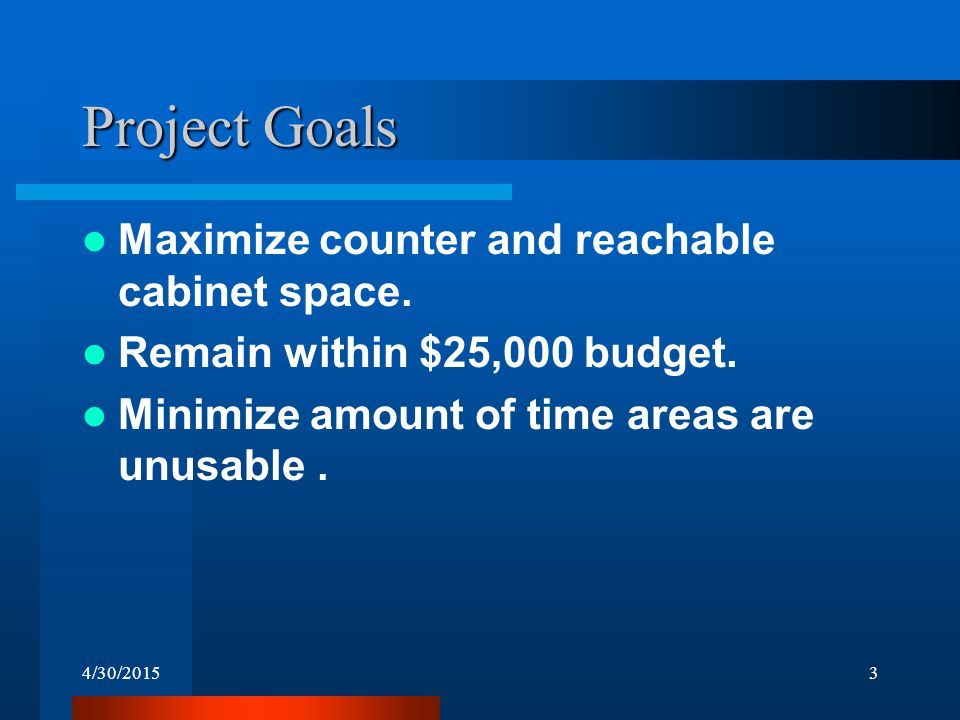 4/30/20153 Project Goals Maximize counter and reachable cabinet space. Remain within $25,000 budget. Minimize amount of time areas are unusable.