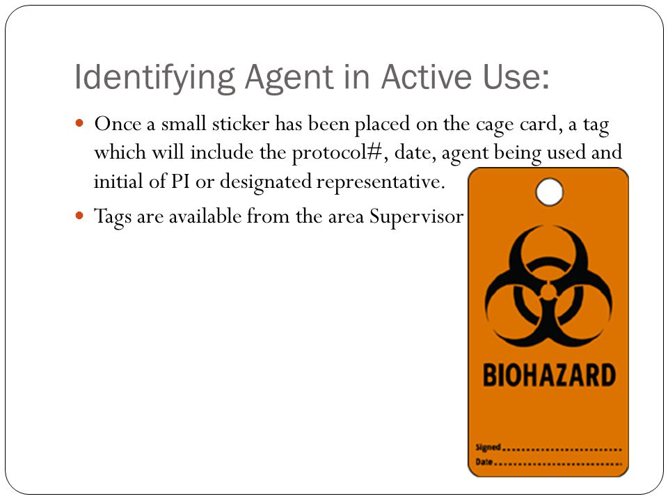 Identifying Agent in Active Use: Once a small sticker has been placed on the cage card, a tag which will include the protocol#, date, agent being used