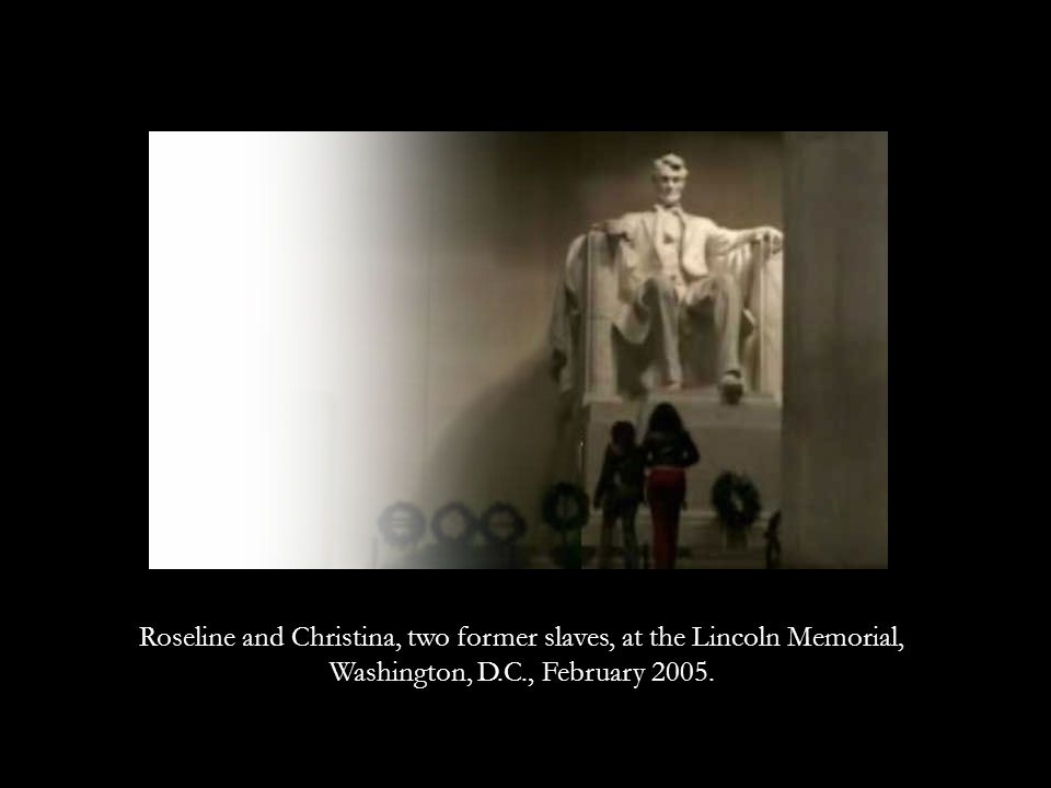 Roseline and Christina, two former slaves, at the Lincoln Memorial, Washington, D.C., February 2005.