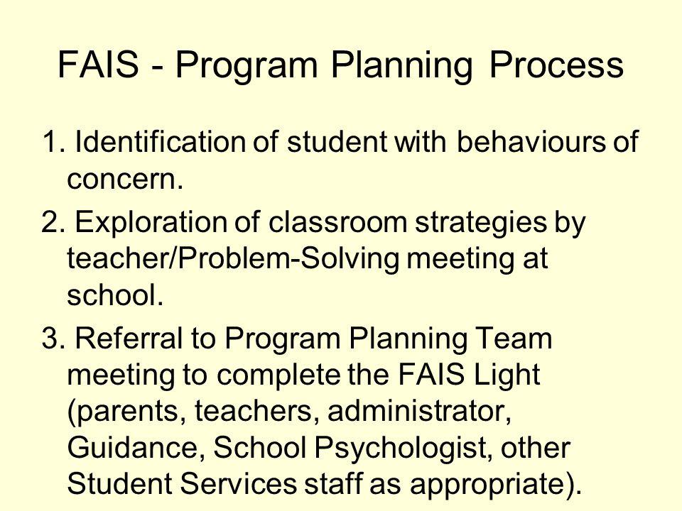 Analogy with Programming FAIS Light = Adaptations FULL FAIS = Individual Program Plan