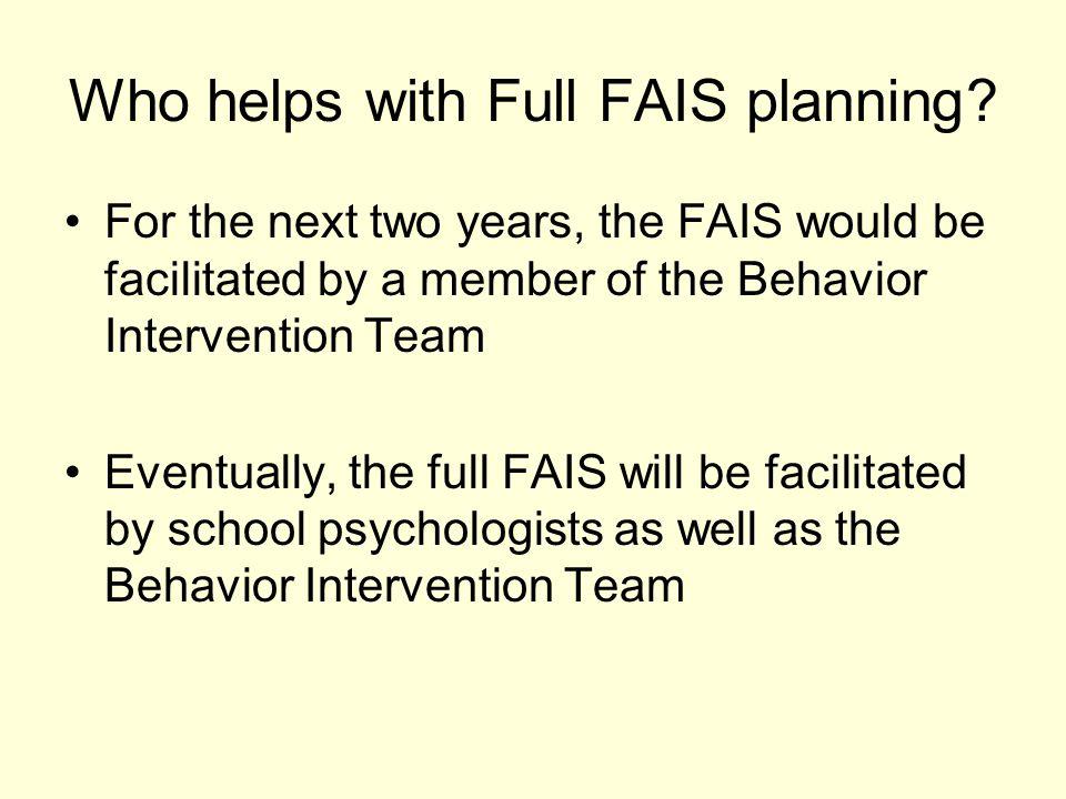 FAIS - Program Planning Process (cont.) 4.
