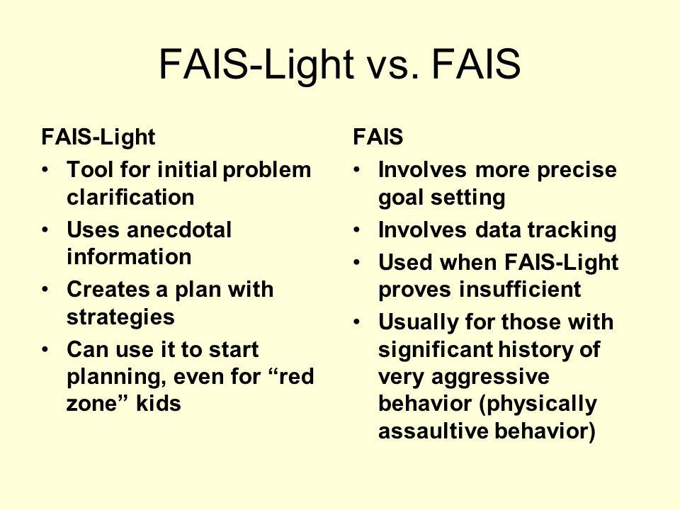 FAIS-Light versus Full FAIS Alien versus Predator?