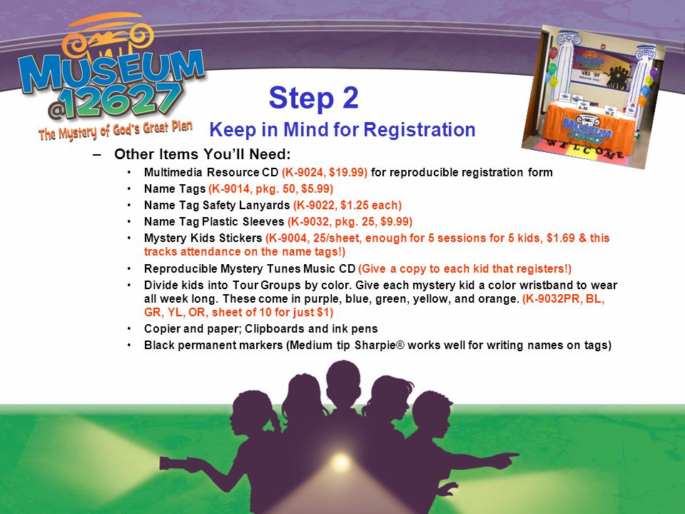 Step 2 Keep in Mind for Registration –Other Items You'll Need: Multimedia Resource CD (K-9024, $19.99) for reproducible registration form Name Tags (K-9014, pkg.