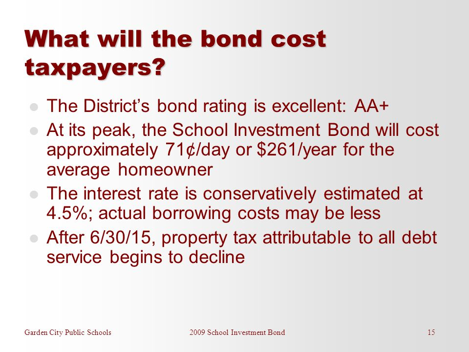 What will the bond cost taxpayers.