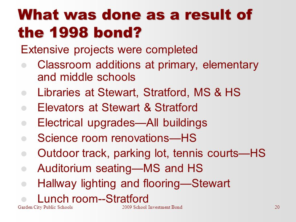 What was done as a result of the 1998 bond? Extensive projects were completed Classroom additions at primary, elementary and middle schools Libraries