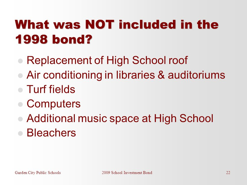 What was NOT included in the 1998 bond? Replacement of High School roof Air conditioning in libraries & auditoriums Turf fields Computers Additional m