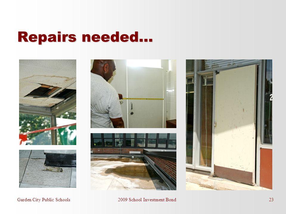Garden City Public Schools 2009 School Investment Bond 23 Repairs needed…