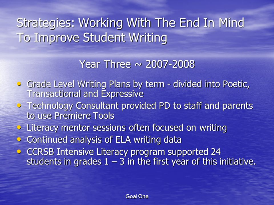 Goal One Strategies: Working With The End In Mind To Improve Student Writing Year Three ~ 2007-2008 Grade Level Writing Plans by term - divided into Poetic, Transactional and Expressive Grade Level Writing Plans by term - divided into Poetic, Transactional and Expressive Technology Consultant provided PD to staff and parents to use Premiere Tools Technology Consultant provided PD to staff and parents to use Premiere Tools Literacy mentor sessions often focused on writing Literacy mentor sessions often focused on writing Continued analysis of ELA writing data Continued analysis of ELA writing data CCRSB Intensive Literacy program supported 24 students in grades 1 – 3 in the first year of this initiative.