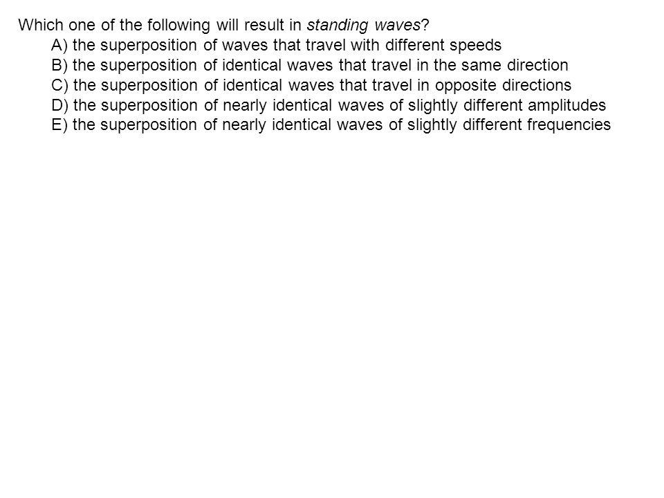 Which one of the following will result in standing waves.