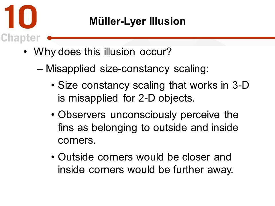 Müller-Lyer Illusion Why does this illusion occur? –Misapplied size-constancy scaling: Size constancy scaling that works in 3-D is misapplied for 2-D