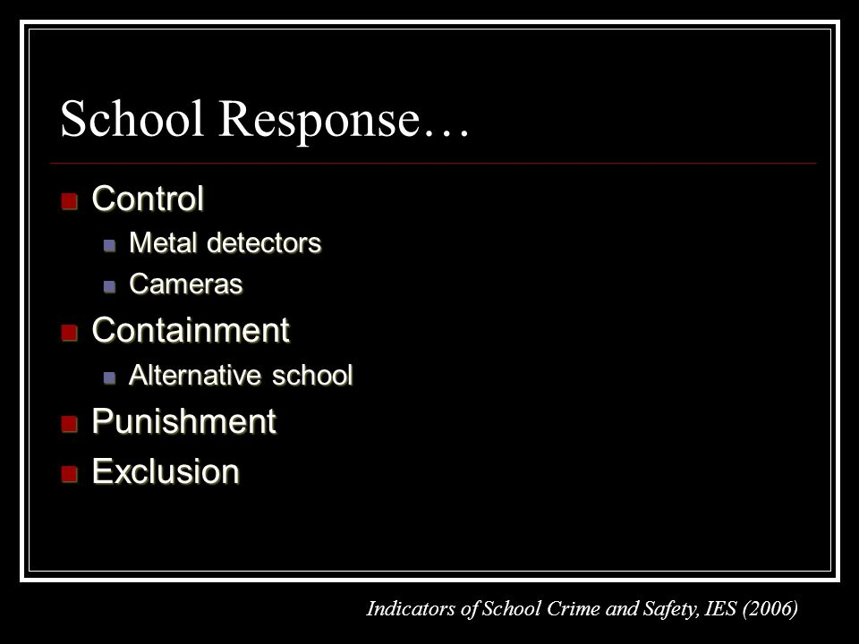 School Response… Control Control Metal detectors Metal detectors Cameras Cameras Containment Containment Alternative school Alternative school Punishment Punishment Exclusion Exclusion Indicators of School Crime and Safety, IES (2006)