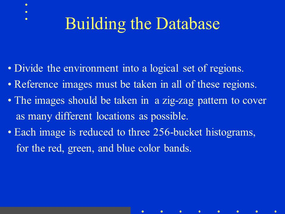 Building the Database Divide the environment into a logical set of regions. Reference images must be taken in all of these regions. The images should