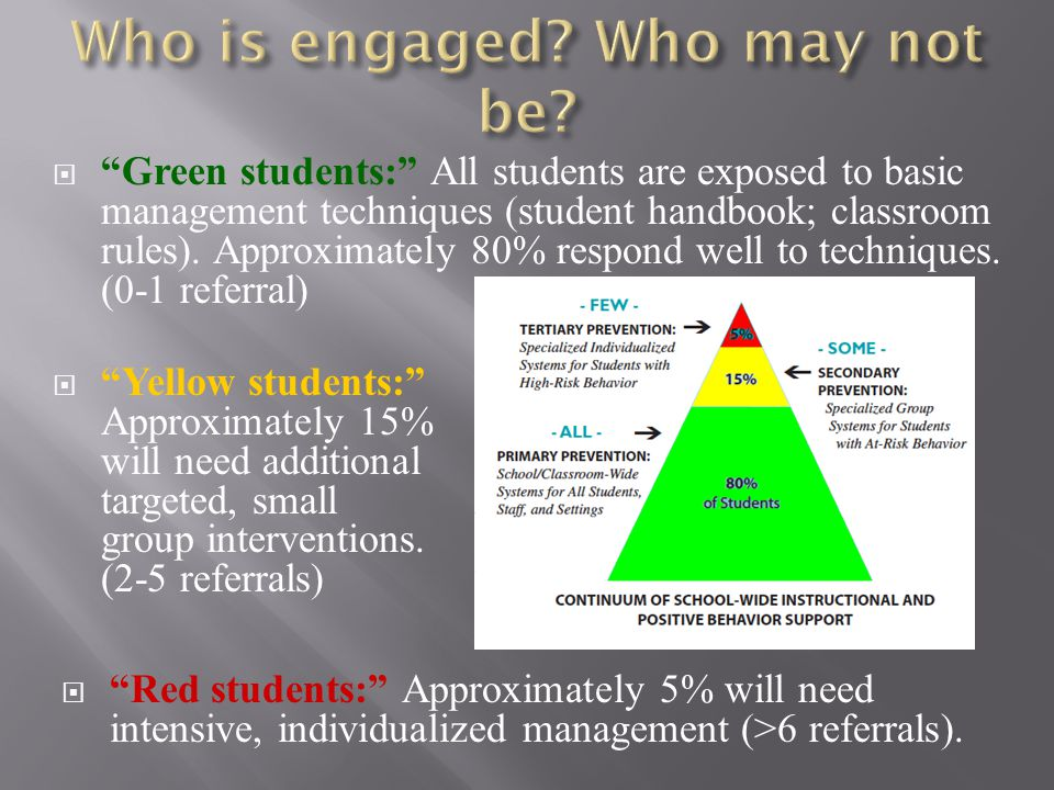  Green students: All students are exposed to basic management techniques (student handbook; classroom rules).