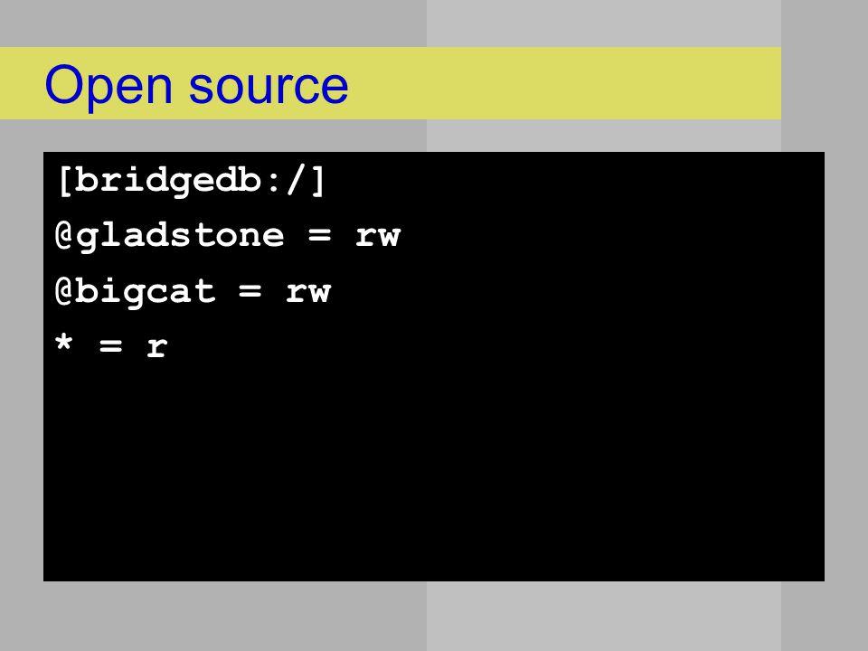 Open source [bridgedb:/] @gladstone = rw @bigcat = rw * = r