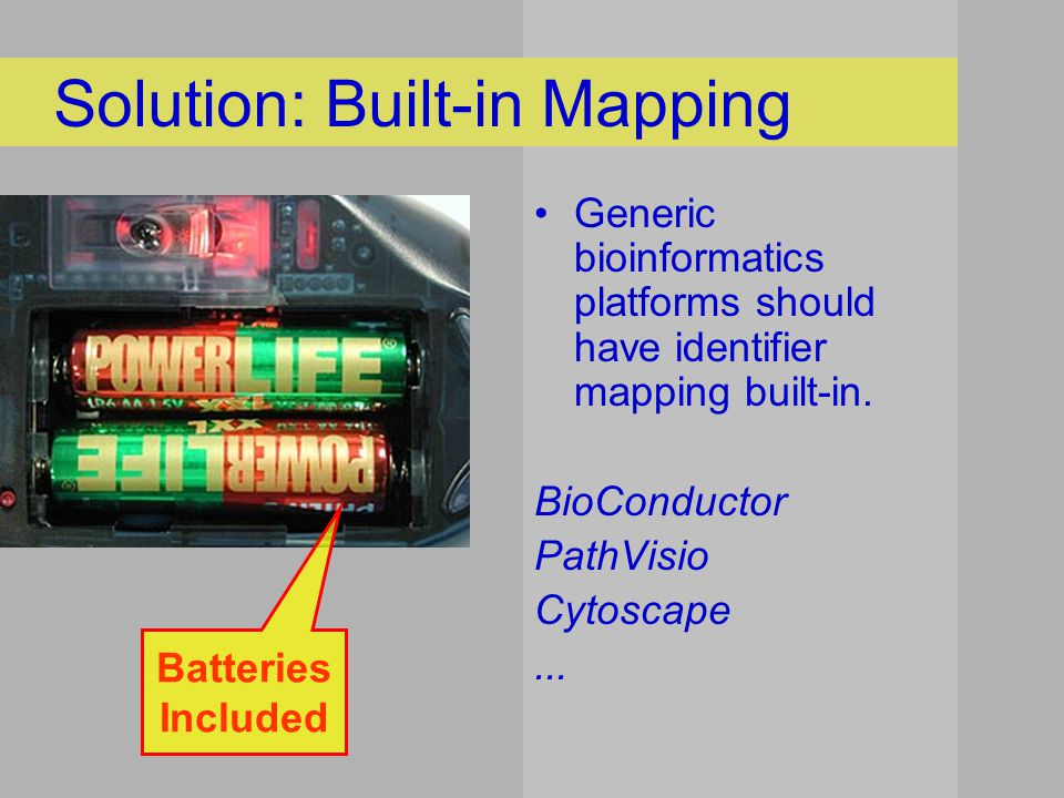 Solution: Built-in Mapping Generic bioinformatics platforms should have identifier mapping built-in.
