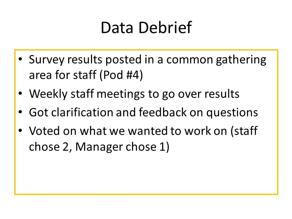 Data Debrief Survey results posted in a common gathering area for staff (Pod #4) Weekly staff meetings to go over results Got clarification and feedback on questions Voted on what we wanted to work on (staff chose 2, Manager chose 1)