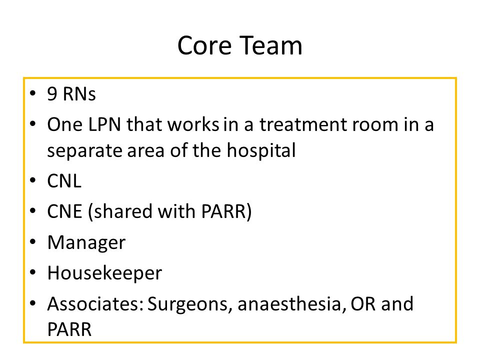 Core Team 9 RNs One LPN that works in a treatment room in a separate area of the hospital CNL CNE (shared with PARR) Manager Housekeeper Associates: Surgeons, anaesthesia, OR and PARR