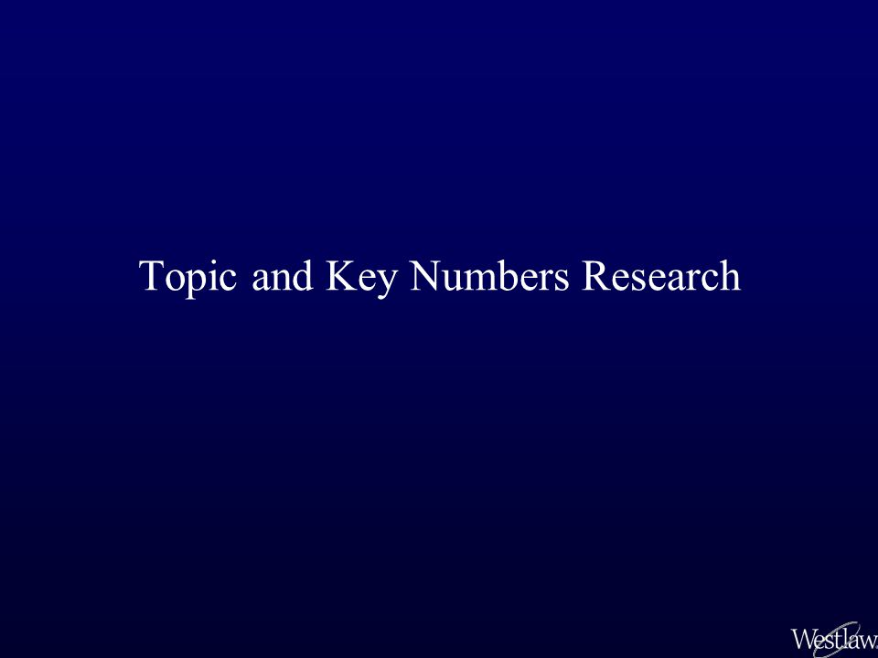 Topic and Key Numbers Research