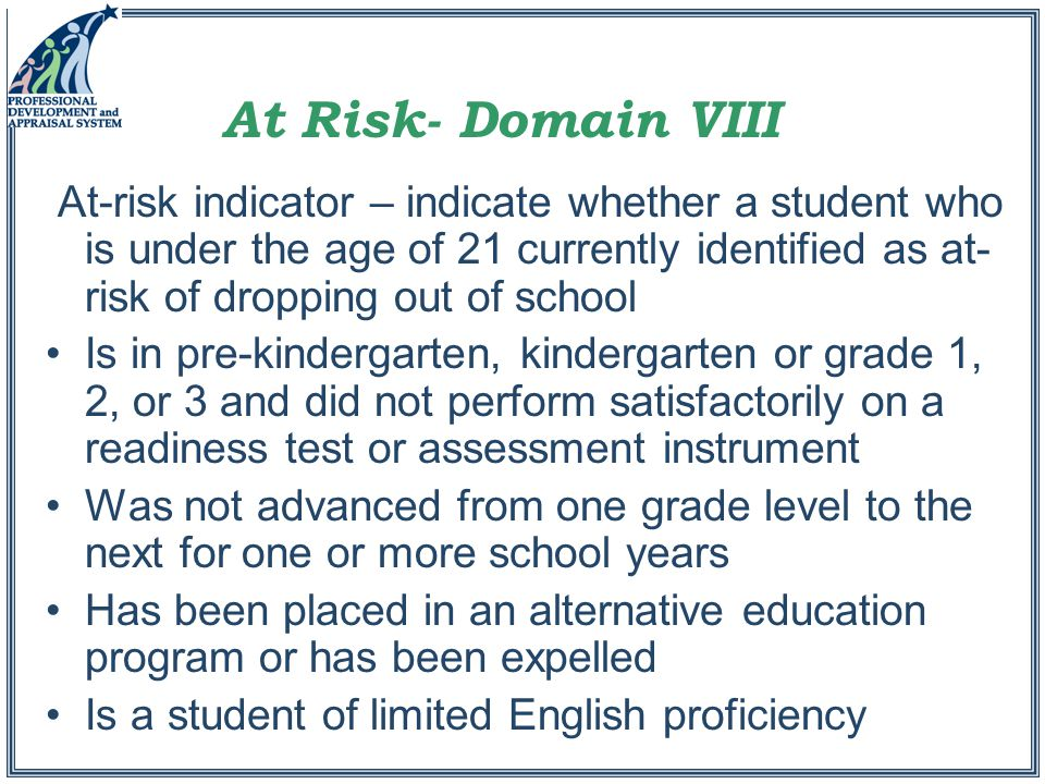 At-risk indicator – indicate whether a student who is under the age of 21 currently identified as at- risk of dropping out of school Is in pre-kindergarten, kindergarten or grade 1, 2, or 3 and did not perform satisfactorily on a readiness test or assessment instrument Was not advanced from one grade level to the next for one or more school years Has been placed in an alternative education program or has been expelled Is a student of limited English proficiency At Risk- Domain VIII