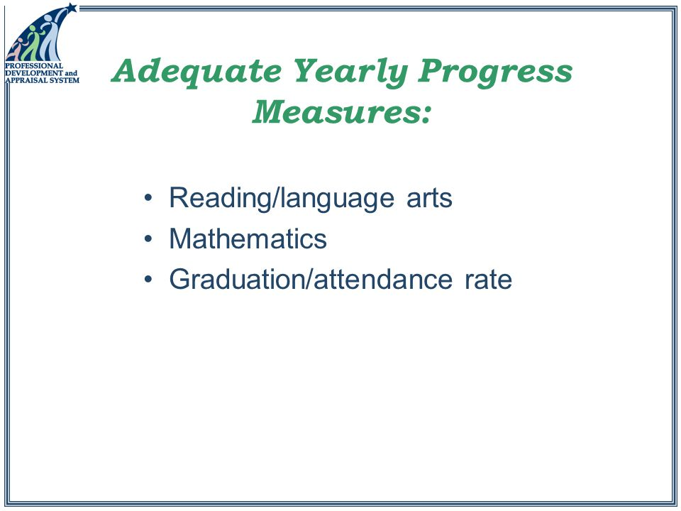 Adequate Yearly Progress Measures: Reading/language arts Mathematics Graduation/attendance rate