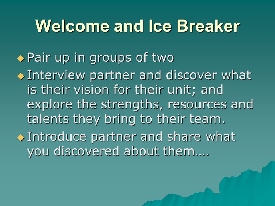 Welcome and Ice Breaker  Pair up in groups of two  Interview partner and discover what is their vision for their unit; and explore the strengths, resources and talents they bring to their team.