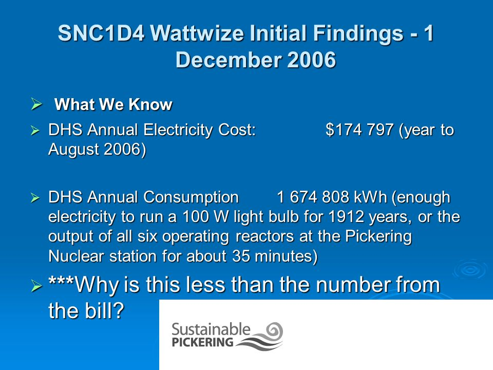 SNC1D4 Wattwize Initial Findings - 2 December 2006  Lighting  Total Calculated Lighting Load:275 404 kWh @ $0.113/kWh= $31 120/year.