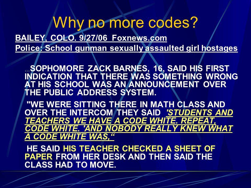 Why no more codes. BAILEY, COLO.