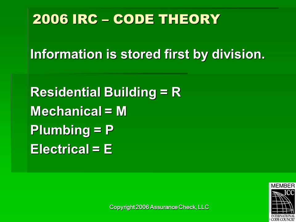 Copyright 2006 Assurance Check, LLC Information is stored first by division. Residential Building = R Mechanical = M Plumbing = P Electrical = E 2006