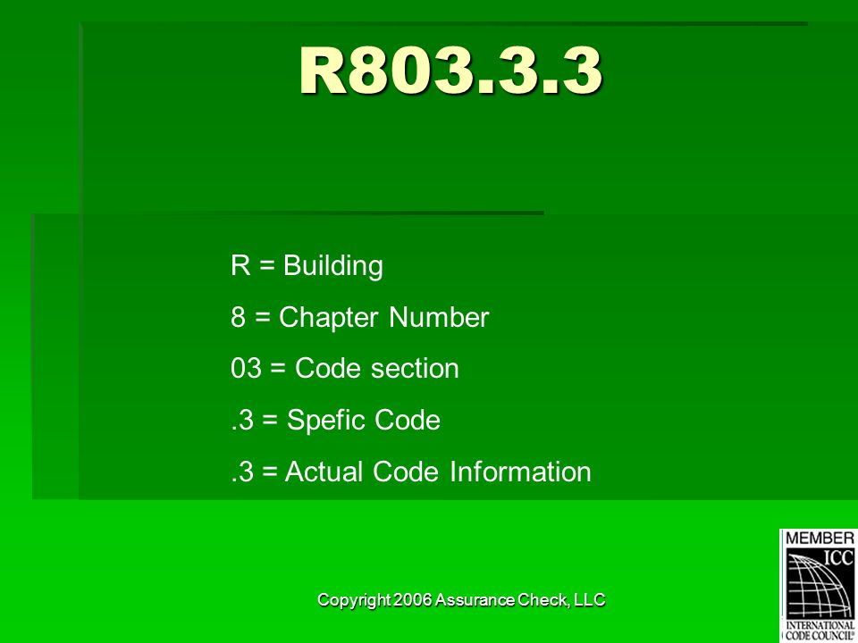 Copyright 2006 Assurance Check, LLC R803.3.3 R = Building 8 = Chapter Number 03 = Code section.3 = Spefic Code.3 = Actual Code Information