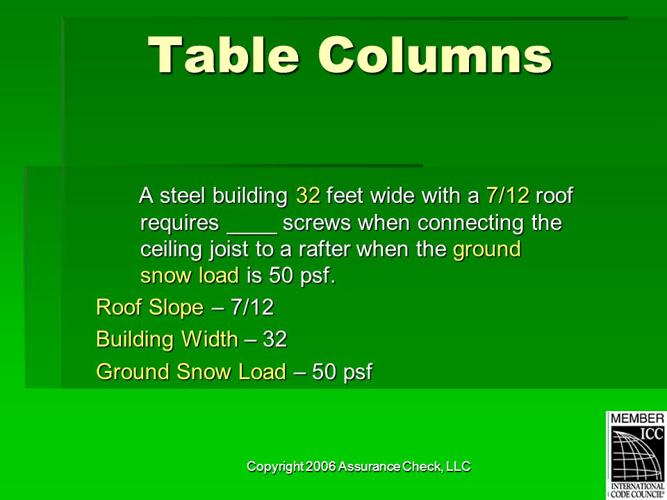 Copyright 2006 Assurance Check, LLC Table Columns A steel building 32 feet wide with a 7/12 roof requires ____ screws when connecting the ceiling jois