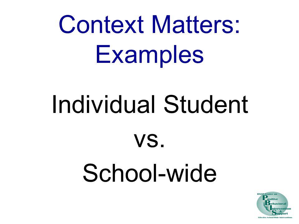 Context Matters: Examples Individual Student vs. School-wide